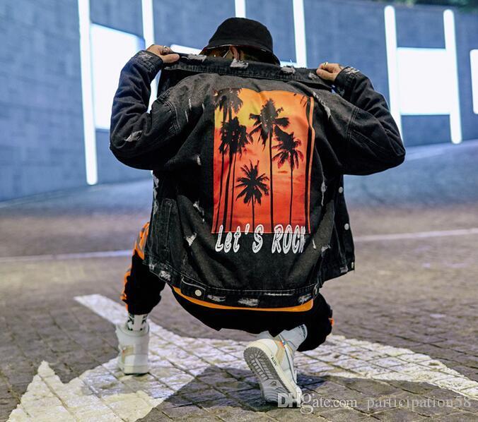 Primavera e autunno Nuovo abbigliamento abrade Graffiti Denim Jacket Uomo Coconut Tree Stampato Lascia Rock Cappotti casual allentati