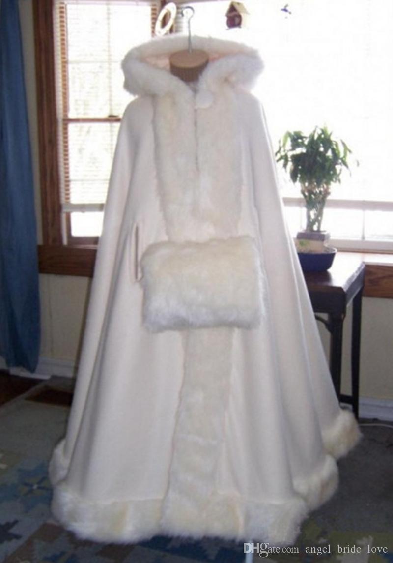 2019 Zarif Kapşonlu Gelin Cape Faux Kürk Kış Ceket Bolero Kadınlar Düğün Kat Uzunluk Cloaks Uzun Parti Düğün Ceket AL83