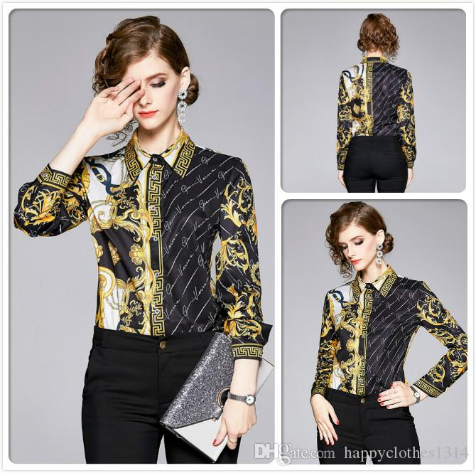 Высокое качество Fall Winter печати Рубашки Мода Женская одежда отворотом шеи Блузы Элегантный офис Бизнес-леди Тонкий Fit стильные рубашки Tops