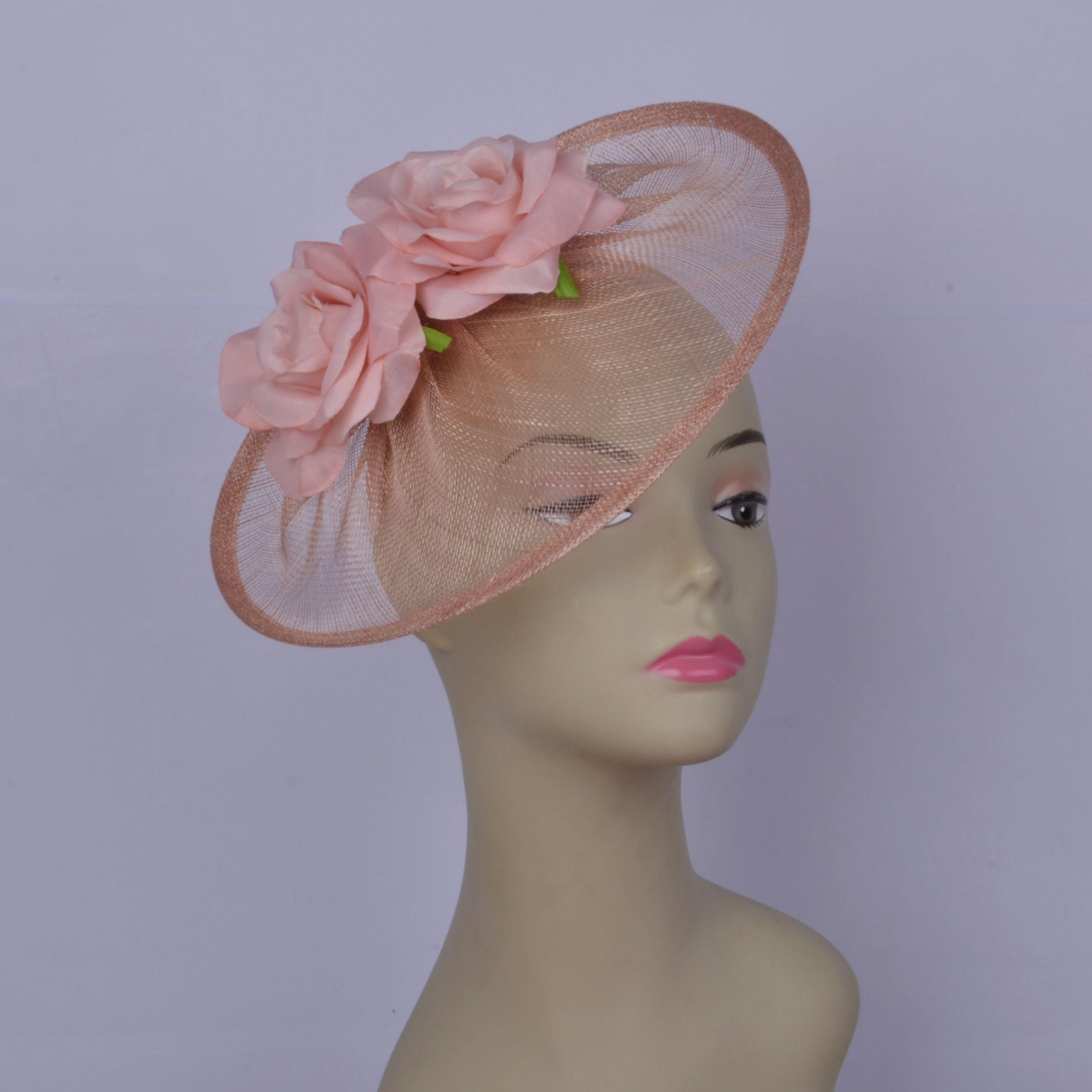 2019 Blush pink Rose flower fascinator Cappello da donna sinamay fascinator hat per la cerimonia nuziale doccia madre della sposa