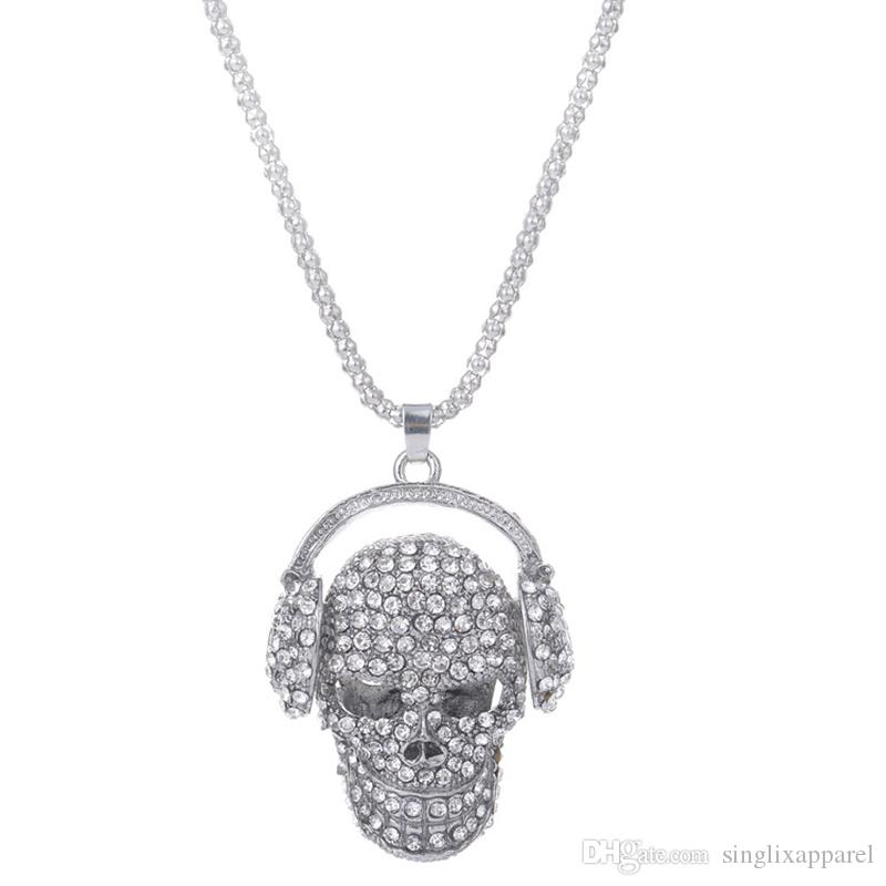 Silver Skull with Earphone Sweater Chain Personality Halloween Accessories Rhinestone Deco Wild Long Section Clothing Accessories
