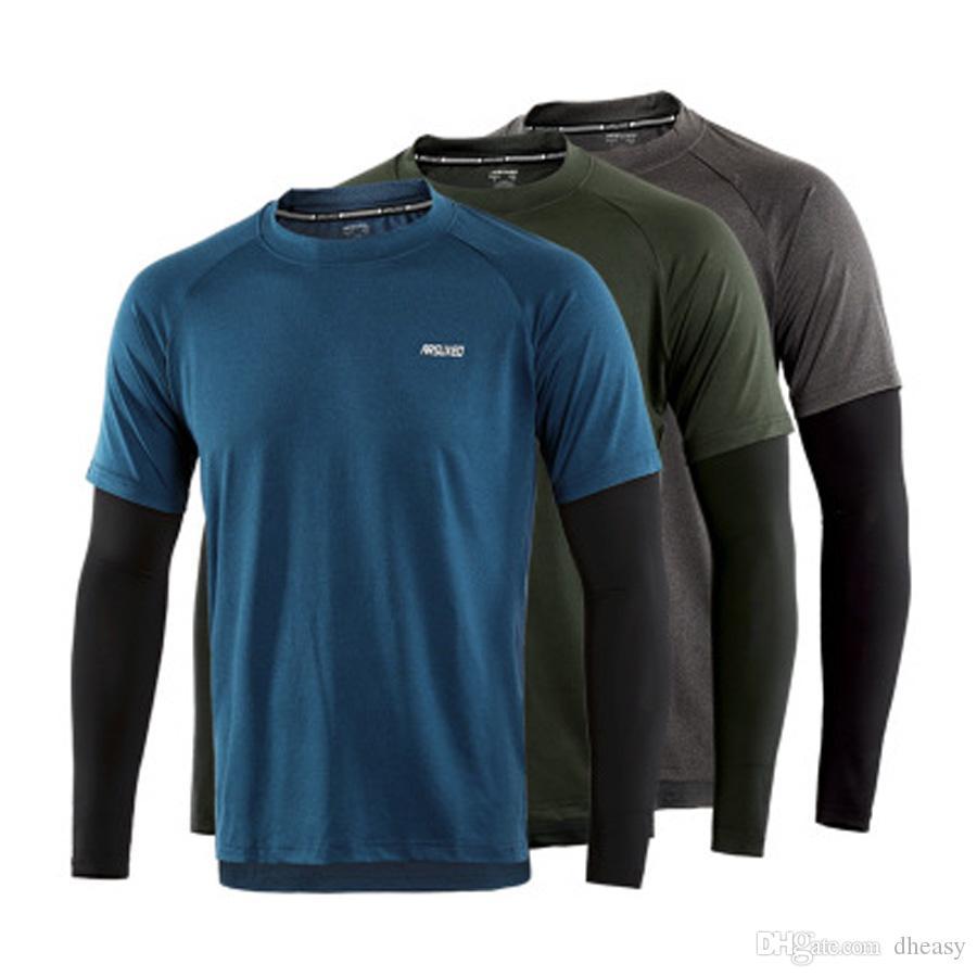 Venta al por mayor Camiseta deportiva de manga larga para hombre Camisetas de secado rápido Compresión elástica Ropa de gimnasia Gimnasio Top Rashgard Male Jerseys
