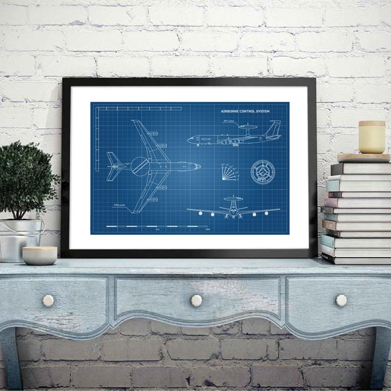 Aircraft Outline Blueprint Posters and Prints Wall Picture Aviation Artwork Gift Idea Canvas Painting Home Art Decor