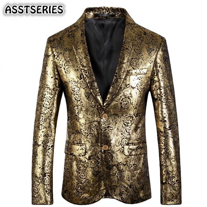 Роскошные Blazer Мужчина Европа Размер выпускного вечера венчания Mens Blazer куртки Британский Стиль однобортный Slim Fit Gold Пиджаки для Man