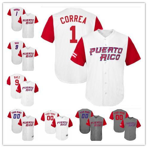 Porto Rico WBC Baseball Jerrea Yadier Molina 9 Javier Baez 12 Francisco Lindor 15 Carlos Beltran 16 Angel Pagan Gris Blanc S-5XL