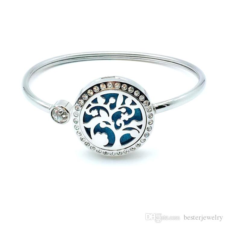 Wholesale 25mm Crystal Aromatherapy Essential Oil Diffuser Locket Bracelet Life Of Tree Bracelet Bangle Fro Woman