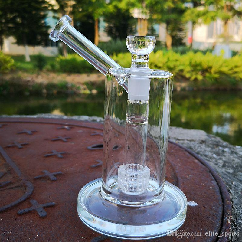 22cm Tall 5mm Thick Mobius Glass Bongs Water Pipes Straight Tube Bong Clear Matrix Perc Glass Dab Rig Sidecar Oil Rigs 18mm Bowl