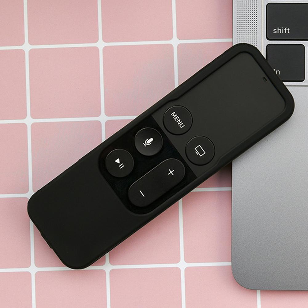 Cordão portátil removível manga caso protetora de silicone durável à prova de choque preto Safe Home Remote Control Tampa Para a Apple TV4