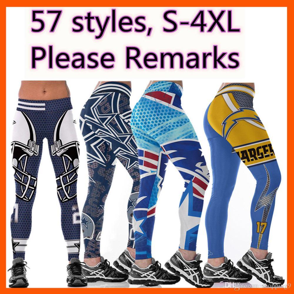 delle donne all'ingrosso caldo di calcio squadra di rugby di yoga pantaloni a vita alta elastico jogging Palestra Collant fitness 3D Digital Print Slim Workout Leggings