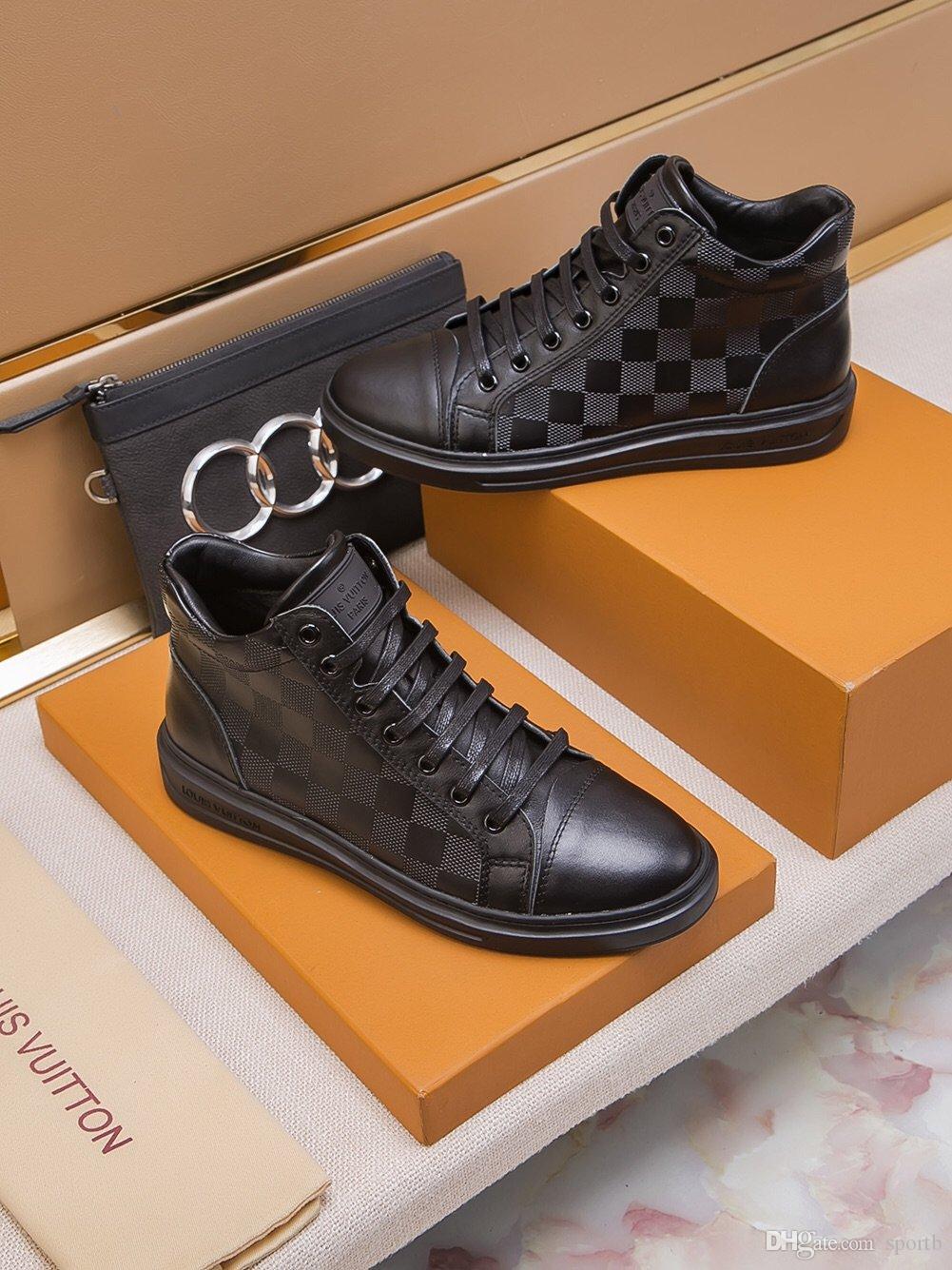 2019 A2 Hochwertige Art und Weise flache Freizeitschuhe Herrenschuhe, Luxus-High-Top-Spitze-oben Turnschuhe original Box-Verpackung Zapatos Hombre