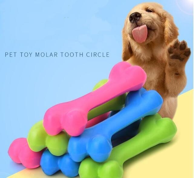 Hundespielzeug beständig für die Zähne Knochen Hundewelpen Molaren Rubber Ball spielen beißen Ausbildung Thermal Plastic Rubber Tierspielzeug 12 * 4cm DHL geben
