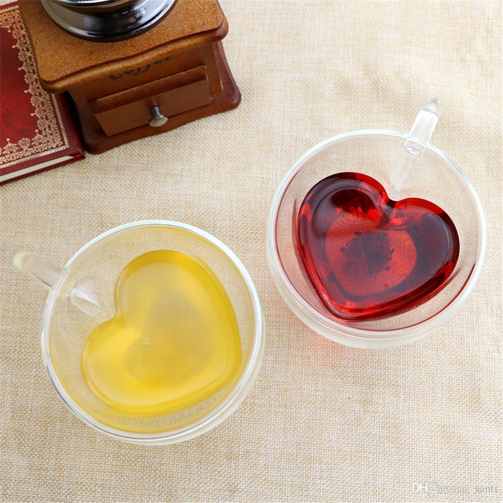 Boire des tasses à thé en verre double couche de thé tasse résistant à la chaleur créatif en forme de coeur double verre jus tasse tasse de café au lait