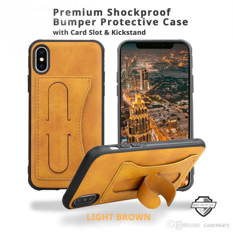 Leather Wallet Cases With Card Slot Finger Ring and Kickstand For iPhone XR XS MAX iPhone 8 7 Samsung S10E S10 Plus