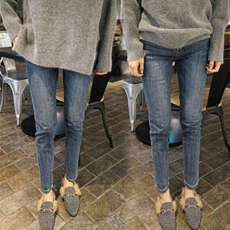 Las mujeres de cintura alta Jeans térmica lana forrada Vaqueros elástico Pantalones flacos de las TUE88