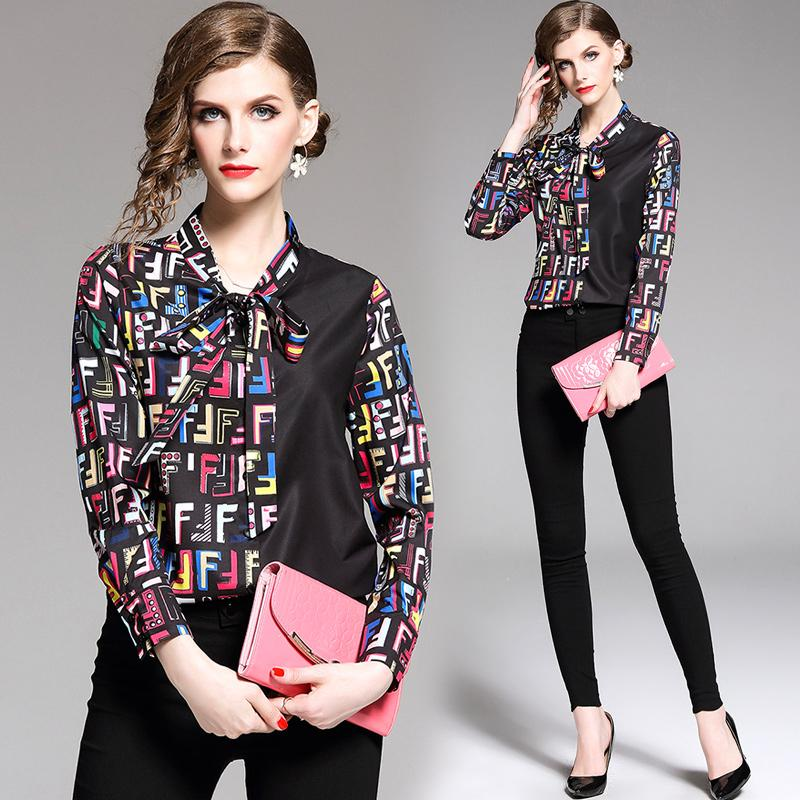 Camiseta de manga larga para mujer Talla grande Colorblock Trabajo de oficina Nueva blusa de moda 8042