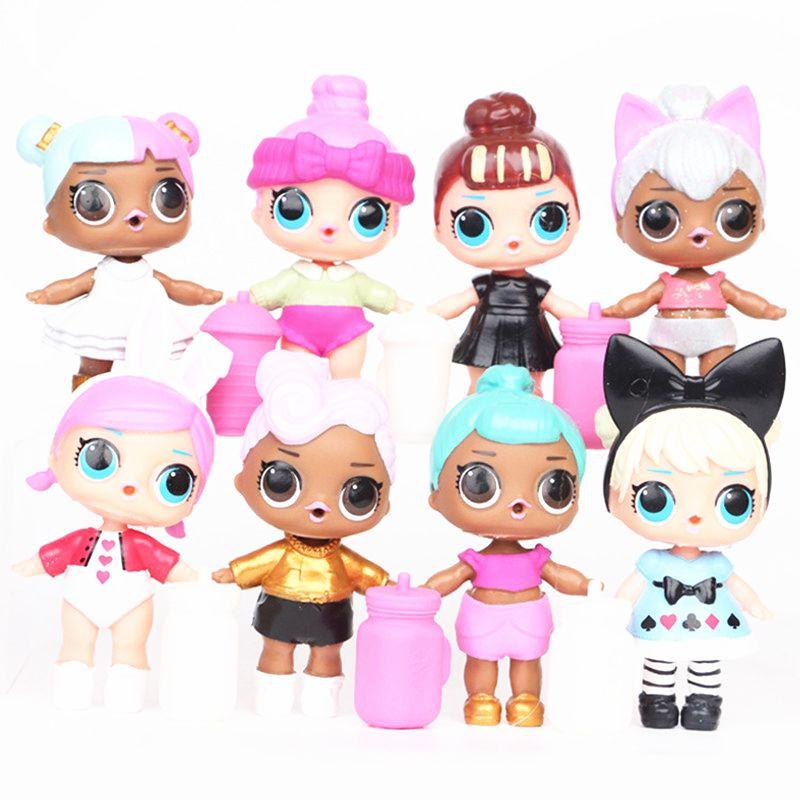 먹이 병 미국의 PVC 가와이이 어린이 장난감 애니메이션 액션과 9CM LOL 인형 소녀 8PCS / 많은에 대한 현실적인 다시 태어난 인형 피규어