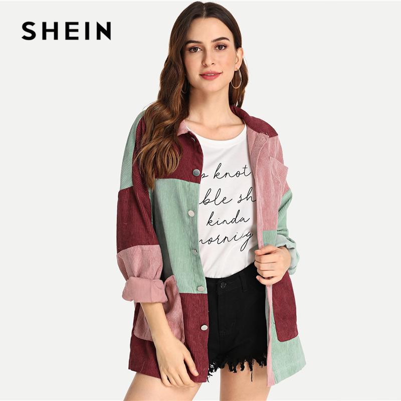 Shein multicolor moderno elegante Señora cortar y coser bolsillo delantero abotonado Escudo 2018 Escudo de fin de semana de otoño ocasional de las mujeres y ropa de abrigo