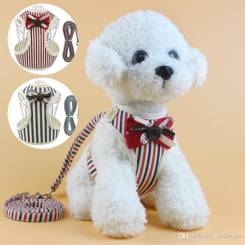 Bowknot Stripes Упряжки поводки Набор дышащий шлейки ошейник собака любимчика пальто поводки одежда собака Корабль падение