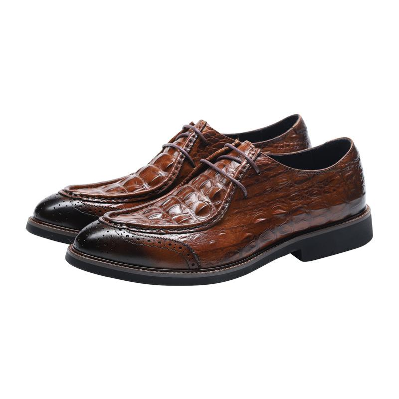 Krokodil echtes Leder Geschäftsleute formale Schuhe spitze Zehe bequeme Gummiunter Mann Entwerferkleidschuhe schwarz braune Farbe