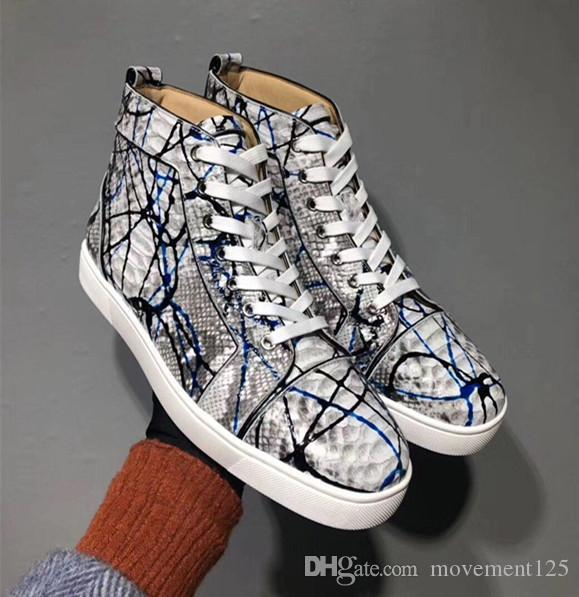 Graffiti Python Leather High Top Sneakers Shoes Women,Men Red Bottom Casual Party Leisure Flats Famous Dress Walking With Box EU36-47