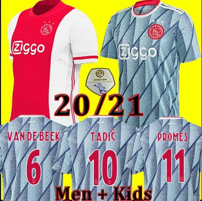 Herren Kinder ajax 2021 wegjersey maillot AJAX Kit Fußball Jersey TADIC VAN DE BEEK ZIYEC HUNTELAAR PROMES 20 21 Fußball-Hemd