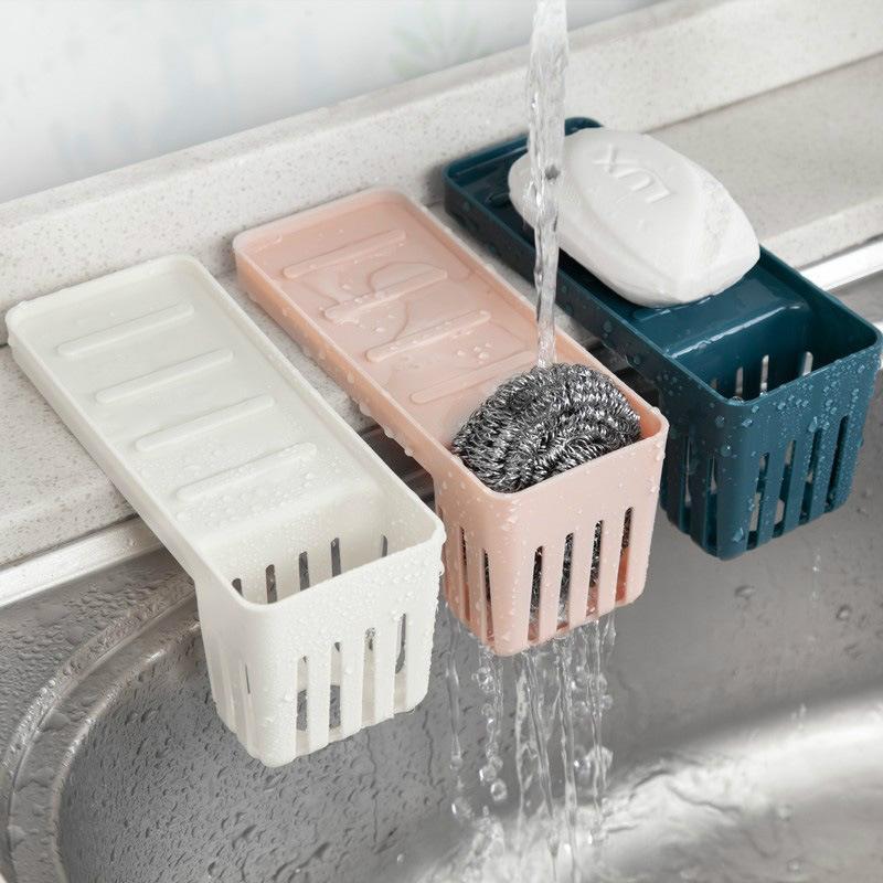 1PCS fregadero de cocina de la casa bolsa de almacenamiento de limpieza ventosa estante palillos de drenaje cepillo de cremallera corte libre de almacenamiento de jabón