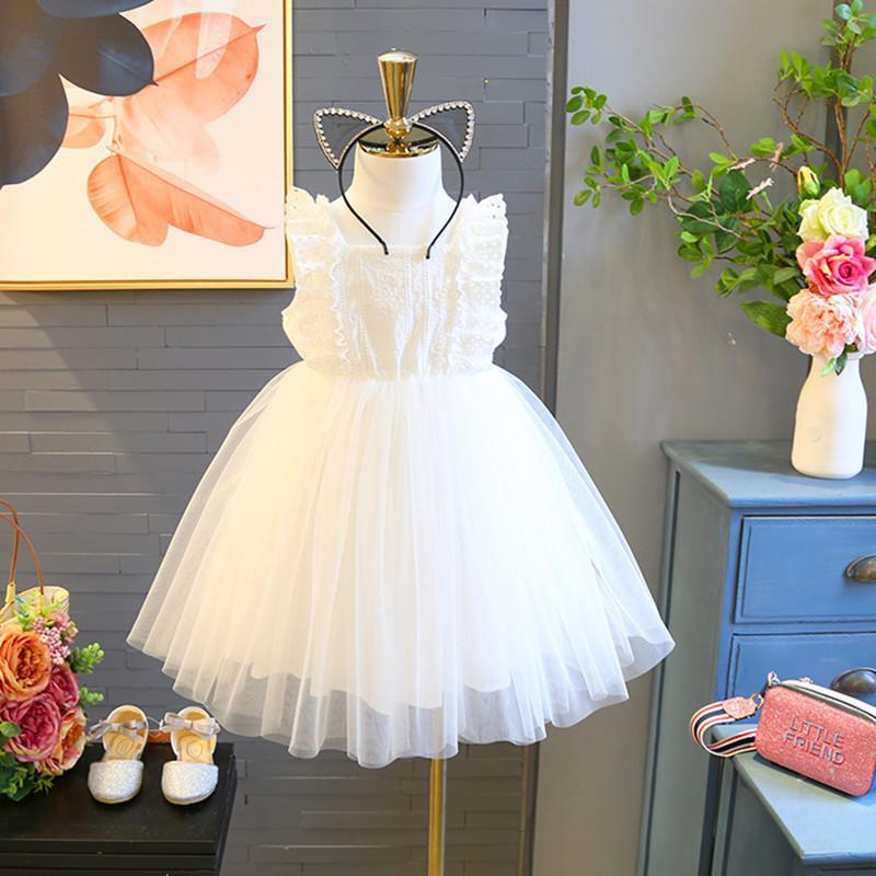 2019 Summer Korean Girls Lace Flower Fairy Dress Sleeveless White High Waist Ruffle Princess Dress Kids boutique baby girl designer clothes