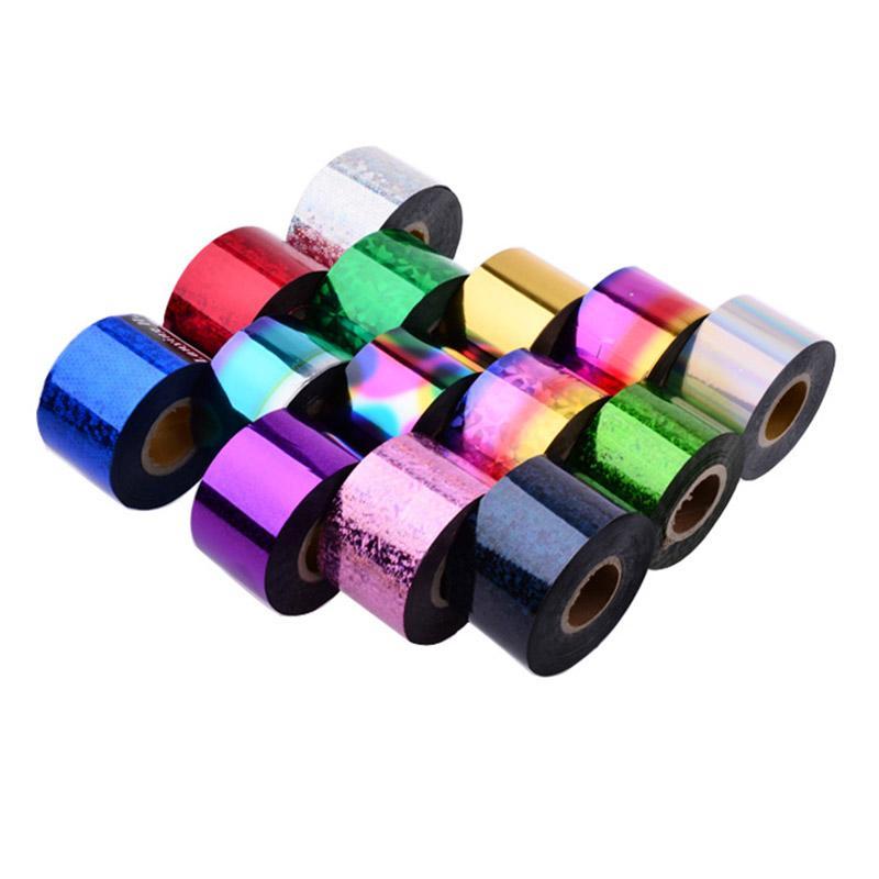 4cm * 120m / 롤 홀로그램 반짝이 네일 전송 포일 여러 가지 빛깔의 플라스틱 레이저 효과 네일 아트 Sticke 네일 팁 장식