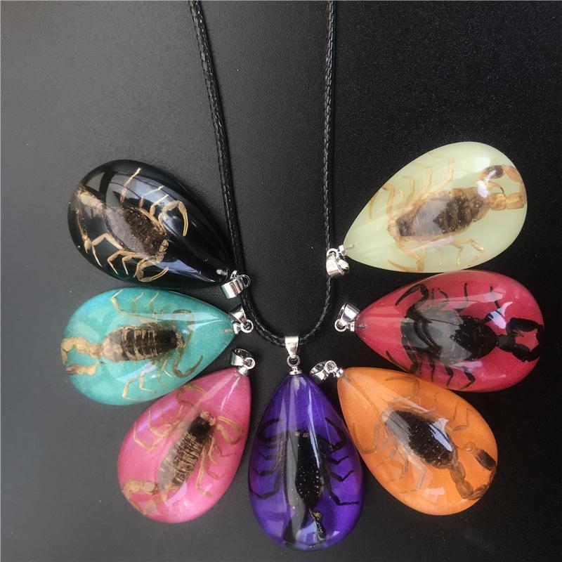 12pcs Collier fluorescent insectes naturel scorpion noir lumineux collier pendentif Phosphorescent Bijoux Fête du cadeau