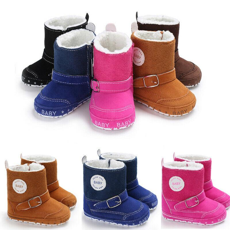 Baby Girls Cotton Boot Soft Sole Crib Warm Button Flat Toddler Prewalke Shoe Hot