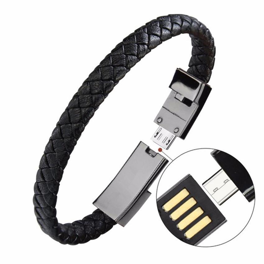Bracelet en cuir Chargeur Câble USB de type C Bracelet Chargeur Câble de données Câble de synchronisation 22.5cm de charge rapide pour Android Phone Câble cadeau