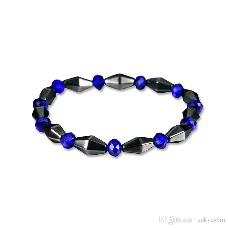 Good Luck Blue Crystal Healing Magnet Stone fashion Chain Beaded Bracelet Best Gift for Men Women