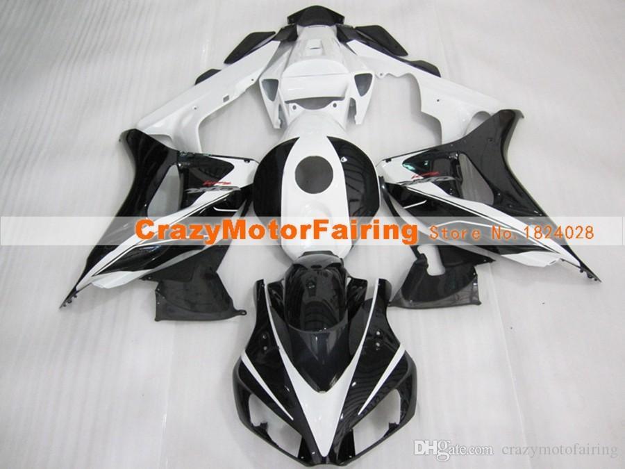 Nuevo estilo de moldes de inyección ABS motocicleta carenados Kits de ajuste del 100% para Honda CBR1000RR 06 07 2006 2007 carenado de carrocería conjunto personalizado negro blanco