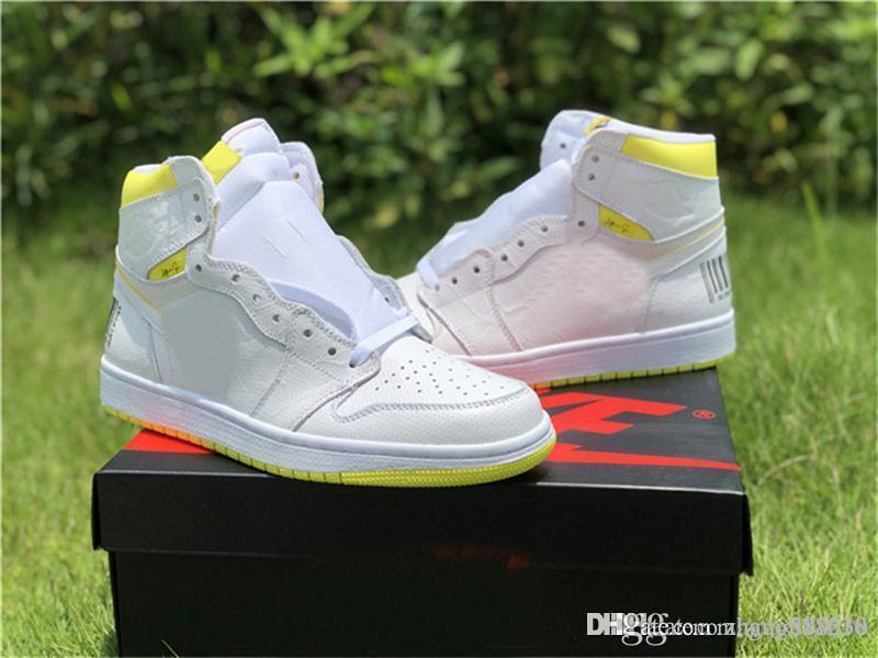 2019 с коробкой 1 Высокий полет первого класса баскетбольные туфли Белый динамический лимонно-желтый спортивный 1S человек спортивные кроссовки 36-45