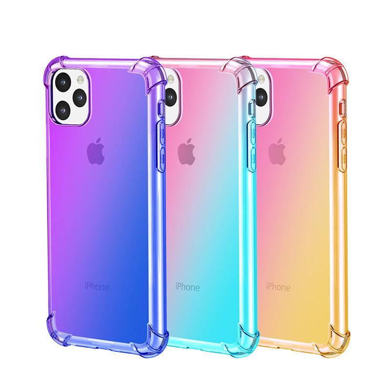 그라데이션 듀얼 컬러 투명 TPU 충격 방지 전화 케이스 아이폰 (11) 프로 XS 최대 XR X 8 플러스 S11E S20 플러스 S10 주 10 프로