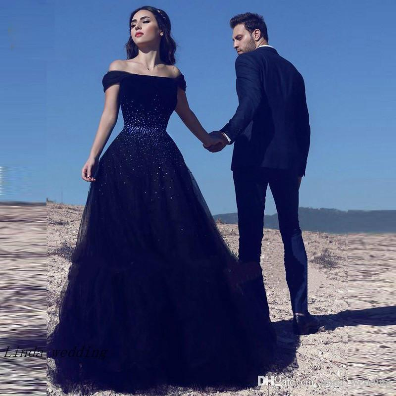 Discount 2019 New Tulle Navy Blue Wedding Dress Arabic A Line Long Bridal Gown South Africa Plus Size Custom Made Vestido De Noiva Wedding Dresses For