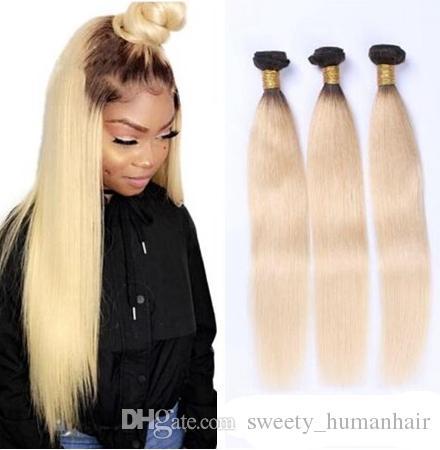 9a Ombre 1B 613 Loiro Humanos brasileira Pacotes os pêlos extensões de cabelo liso brasileiros 1b 613 Loiro Root escuro Vendor cabelo