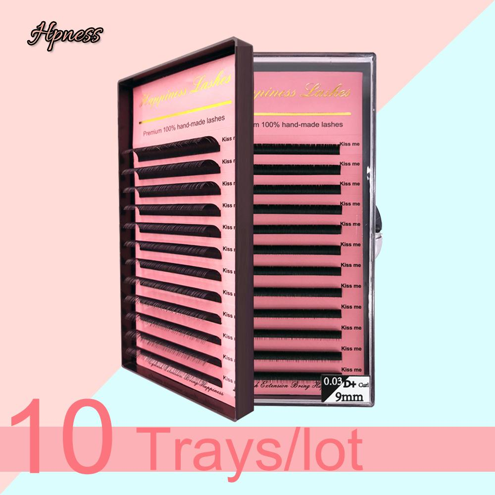 HPNESS 10 Trays/Lot Eyelash Extension 3D Individual Lashes C D U Curl All Sizes 8-15mm Mixed Length in One Tray
