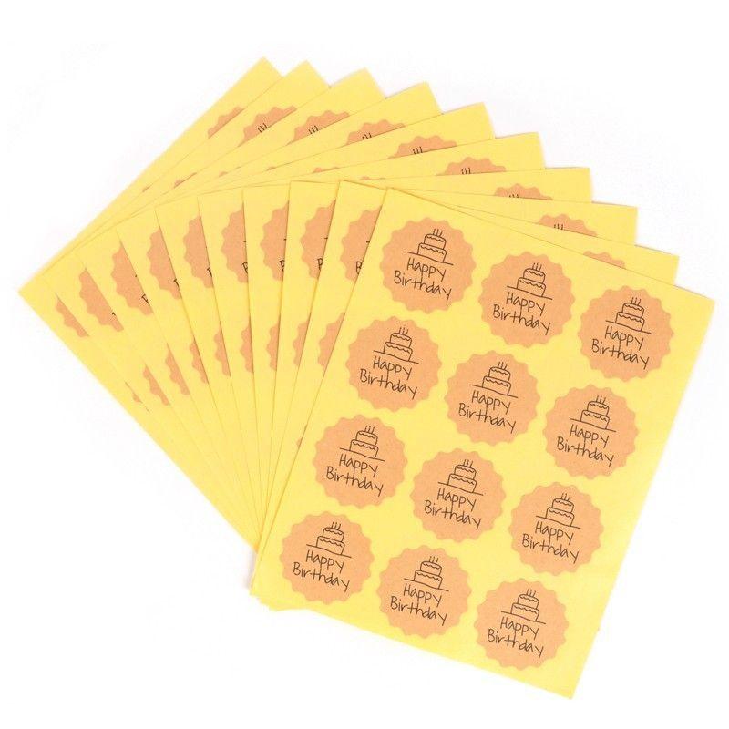 Delidge 120pcs Feliz cumpleaños Círculo Hecho a mano Pastel Empaquetado Etiqueta de sellado Kraft Etiqueta para hornear Diy Regalo Pegatinas
