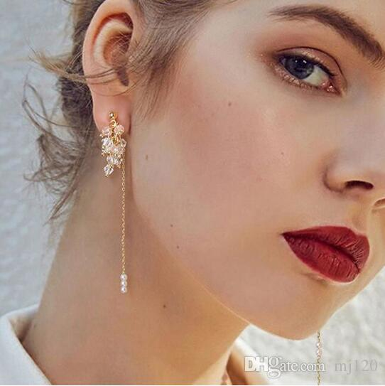 Luxus Frauen Perlen Erklärung Lange Kette Ohrringe Gold Metall Quaste Nachahmung Perle Anhänger Baumeln Ohrringe Für Party