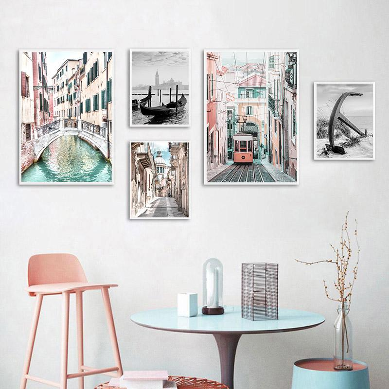 Nordic Street Building Landscape Canvas Print Poster Venice Historic Church Wall Art Painting Picture Modern Home Decoration