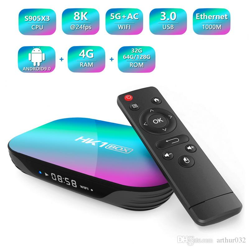 HK1 BOX 8K Amlogic S905X3 4GB RAM 64GB TV Box Android 9.0 Set Top Box 1000M Dual Wifi 4K Smart TVBOX