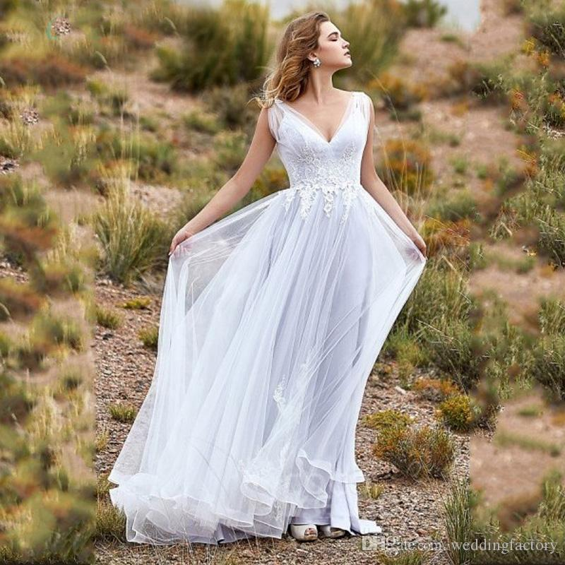 New Product V Neck Tulle White Lace Appliques Simple Country Style Beach Wedding Dress Bohemian Backless Bridal Gowns with Sweep Train