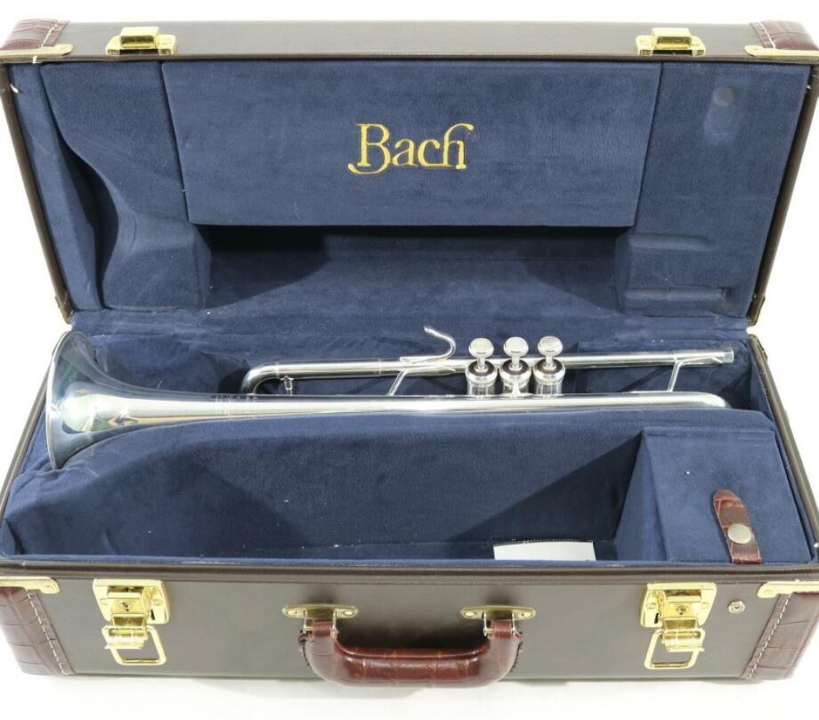 Bach Gümüş Kaplama Trompet LR180S43 Trompet Orijinal Mavi Kılıf ile Oyulmuş Bb Ton Müzik Aletleri