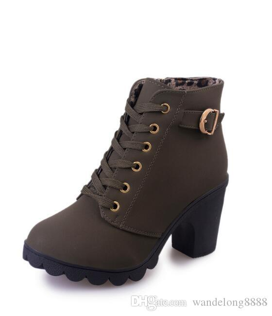 Free shipping thick with ankle boots Martin boots female explosion models with round head women's boots frosted material high heel short bo3
