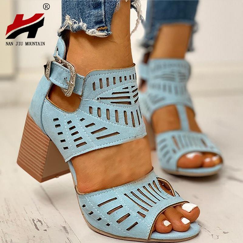 NAN DCI montaña nuevo verano 2020 Bloque sandalias Talón de las mujeres de cuero de moda salvaje con puntera abierta sandalias talón huecos más el tamaño
