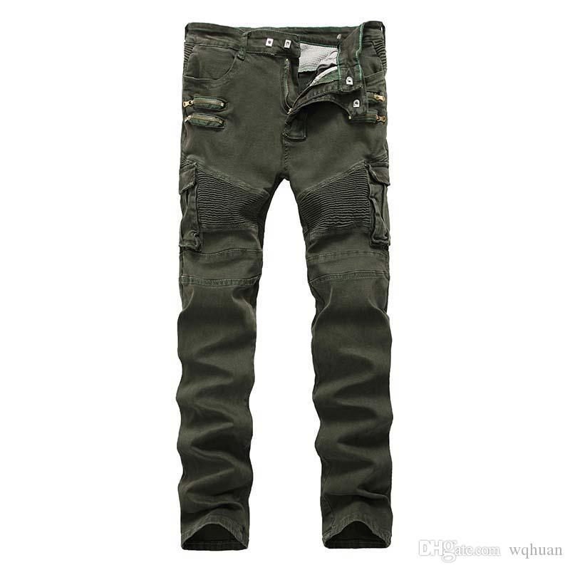 Neue Männer Biker Jeans Denim-Armee Militäruniform Fashional drapierte Panelled viele Taschen-Hosen-Reißverschluss-Zipper Gewaschene Versand Qualität Freie