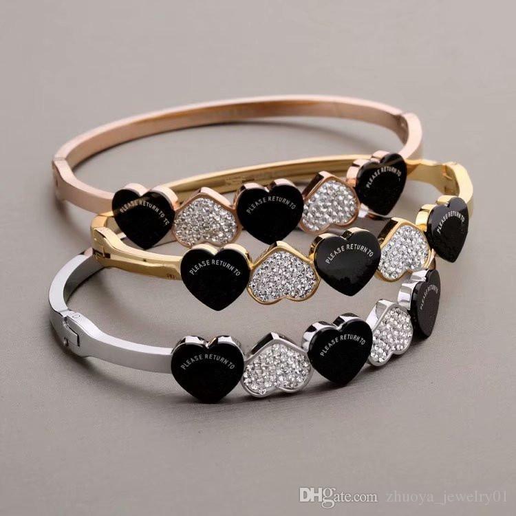 سوار أزياء وارتفعت الفضة جديدة الذهب 316L الفولاذ المقاوم للصدأ سوار سوار مع مصمم المجوهرات الفاخرة النساء الأساور سوار الماس