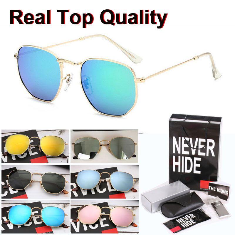 De calidad superior del marco hexagonal de marca gafas de sol Hombres Mujeres Hexágono de la vendimia UV400 Lente de cristal con la caja original, paquetes, accesorios, todo lo