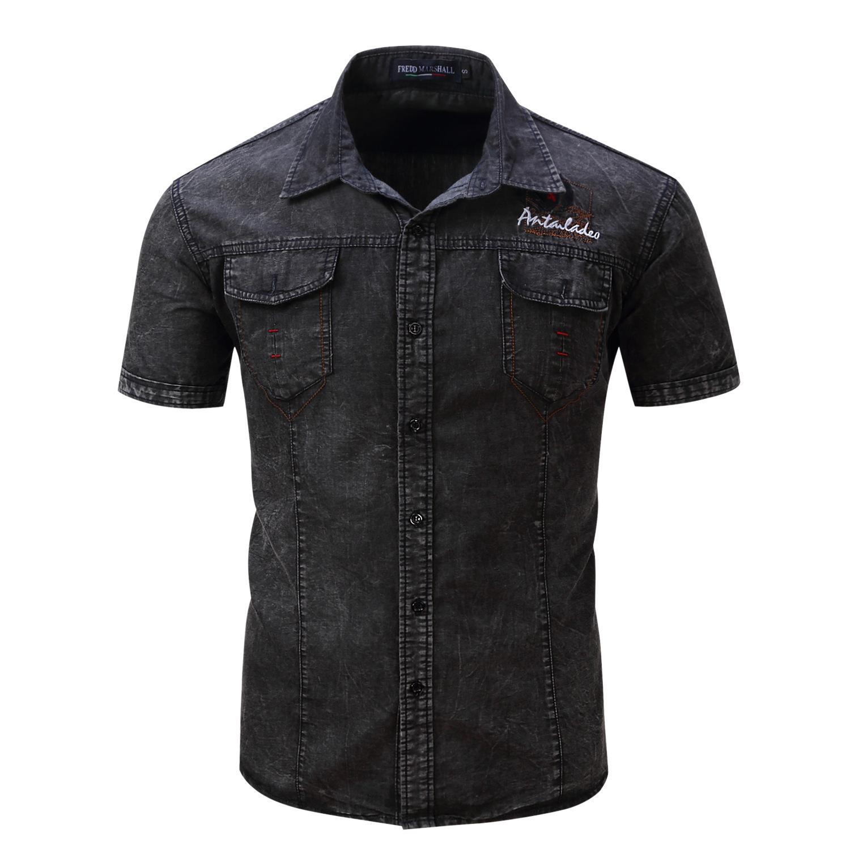 رجل دنيم الرجال القميص عادية منتظم صالح زر القميص مع الجيب بلوزة الرجال Camisa الاجتماعية قصير كم القمم